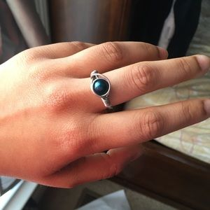 Handmade Navy Blue Wire Wrapped Ring